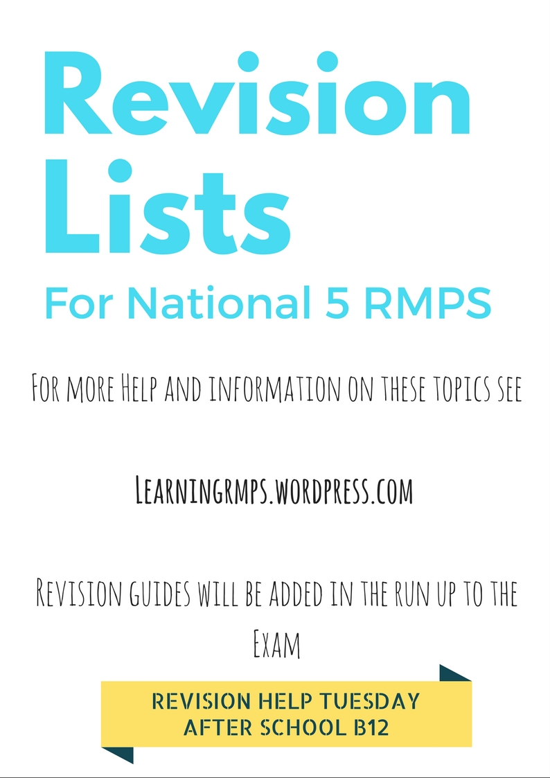 National 5 Revision Guides and Questions